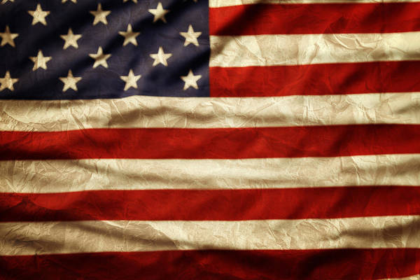 Wrinkled Print featuring the photograph American Flag by Les Cunliffe