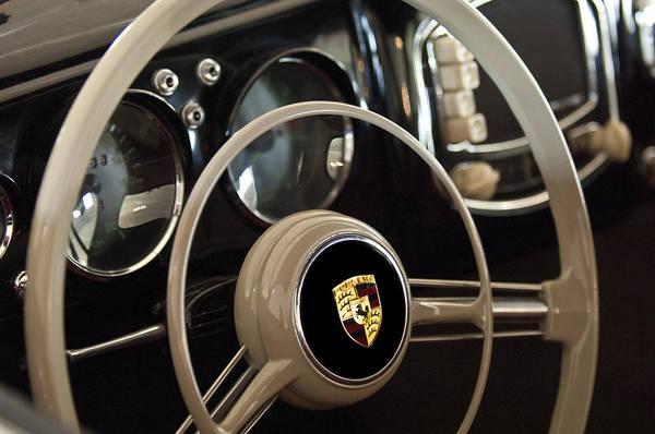1954 Porsche 356 Bent-window Coupe Print featuring the photograph 1954 Porsche 356 Bent-window Coupe Steering Wheel Emblem by Jill Reger