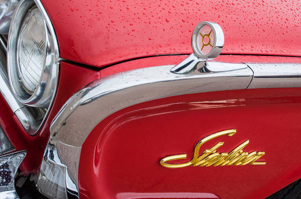 1960 Ford Galaxie Starliner Hood Ornament - Emblem Print featuring the photograph 1960 Ford Galaxie Starliner Hood Ornament - Emblem by Jill Reger