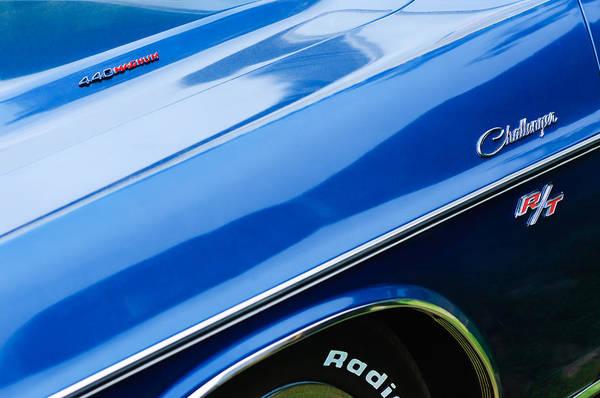 1970 Dodge Challenger Rt Convertible Emblems Print featuring the photograph 1970 Dodge Challenger Rt Convertible Emblems by Jill Reger