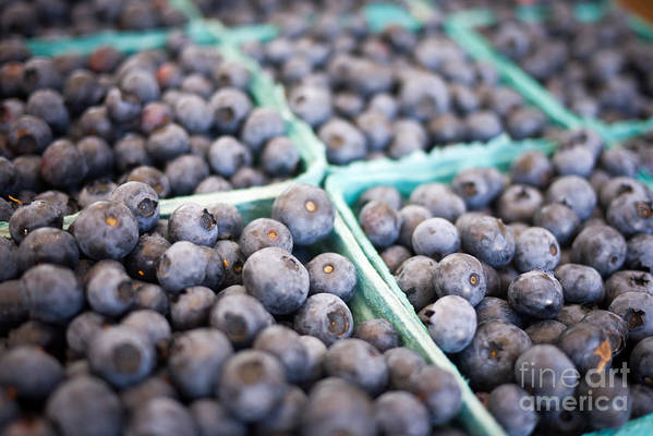 Fruit Print featuring the photograph Fresh Blueberries by Edward Fielding