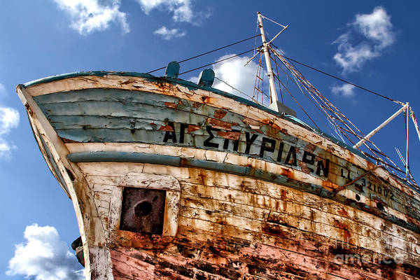Abandoned Print featuring the photograph Greek Fishing Boat by Stelios Kleanthous