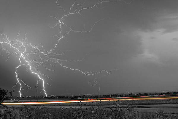 Lightning Print featuring the photograph Lightning Thunderstorm Dragon by James BO Insogna