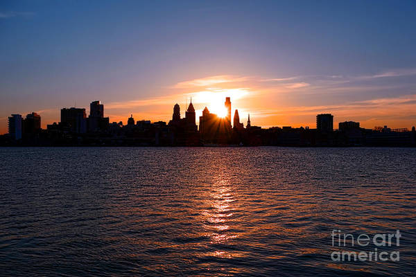 Sunset Print featuring the photograph Philadelphia Sunset by Olivier Le Queinec