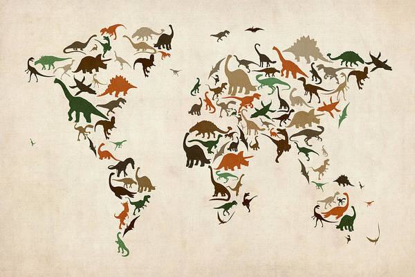 World Map Print featuring the digital art Dinosaur Map Of The World Map by Michael Tompsett