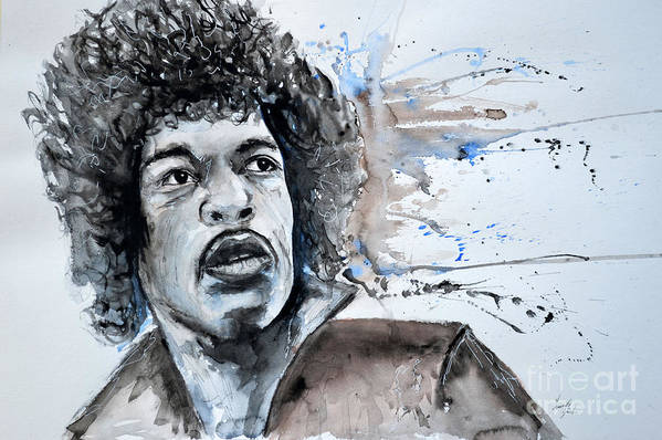 Portrait Print featuring the painting Jimi Hendrix by Ismeta Gruenwald