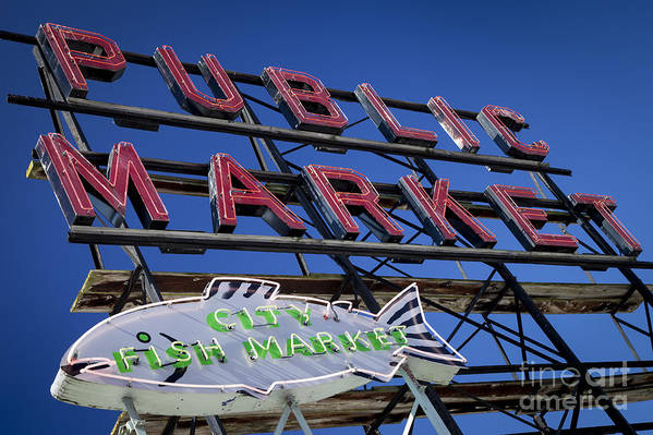 America Print featuring the photograph Seattle Market Sign by Brian Jannsen