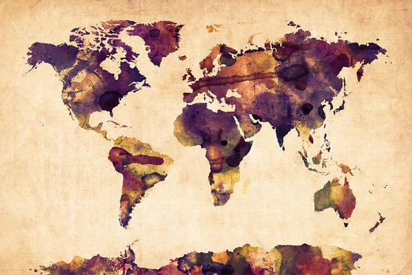 Map Of The World Print featuring the digital art World Map Watercolor by Michael Tompsett