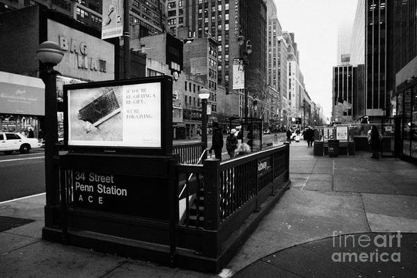 Usa Print featuring the photograph 34th Street Entrance To Penn Station Subway New York City Usa by Joe Fox