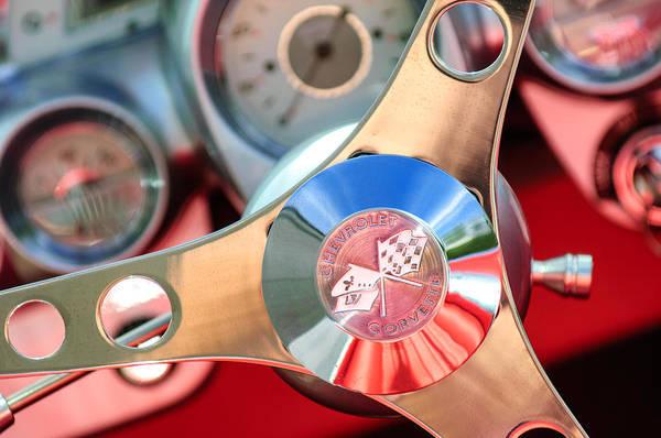 1960 Chevrolet Corvette Steering Wheel Emblem Print featuring the photograph 1960 Chevrolet Corvette Steering Wheel Emblem by Jill Reger