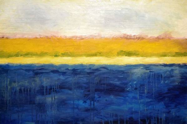 Abstract Landscape Print featuring the painting Abstract Dunes With Blue And Gold by Michelle Calkins