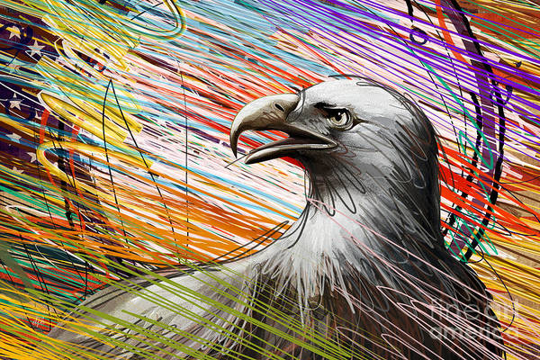 Eagle Print featuring the digital art American Eagle by Bedros Awak