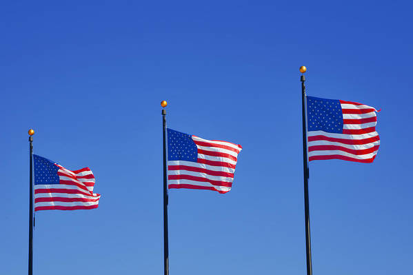 Three Print featuring the photograph American Flags - Navy Pier Chicago by Christine Till