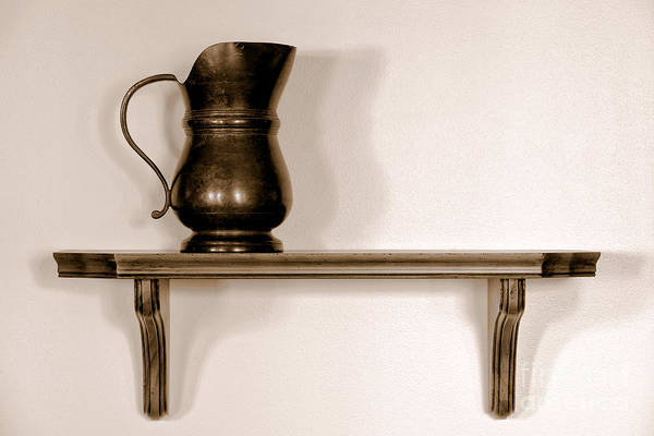Pitcher Print featuring the photograph Antique Pewter Pitcher On Old Wood Shelf by Olivier Le Queinec
