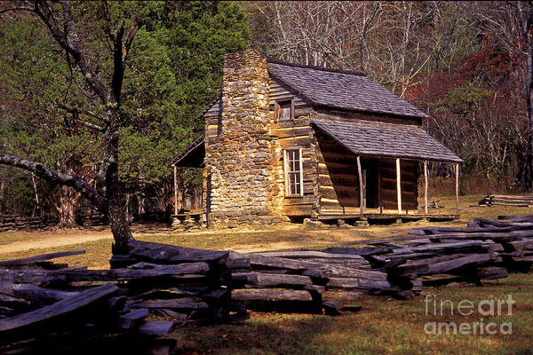 Log Cabin Print featuring the photograph Appalachian Homestead by Paul W Faust - Impressions of Light