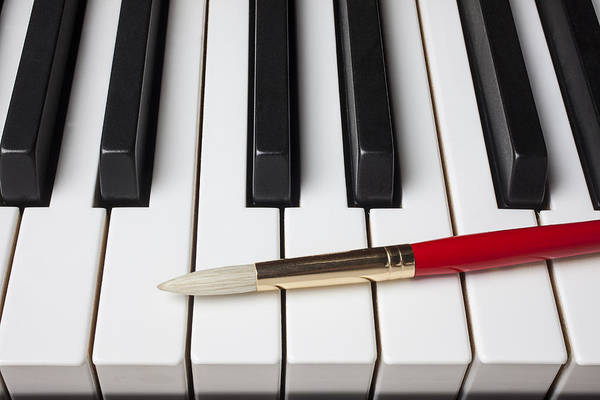 Artist Print featuring the photograph Artist Brush On Piano Keys by Garry Gay