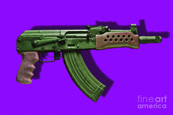 Gun Print featuring the photograph Assault Rifle Pop Art - 20130120 - V4 by Wingsdomain Art and Photography