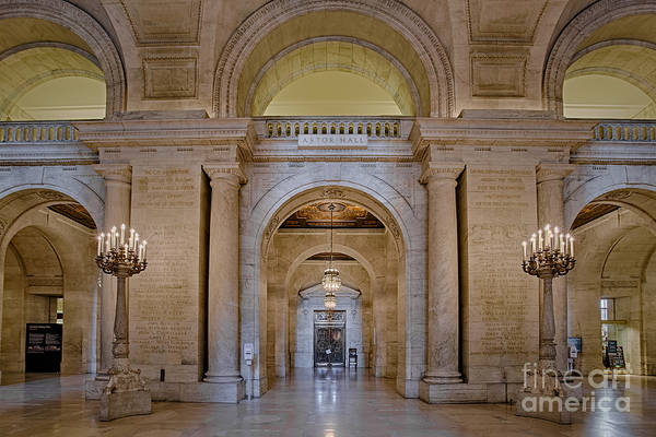 Astor Hall Print featuring the photograph Astor Hall At The New York Public Library by Susan Candelario