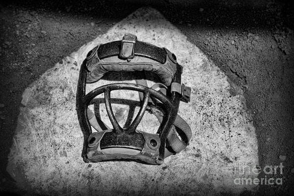 Paul Ward Print featuring the photograph Baseball Catchers Mask Vintage In Black And White by Paul Ward