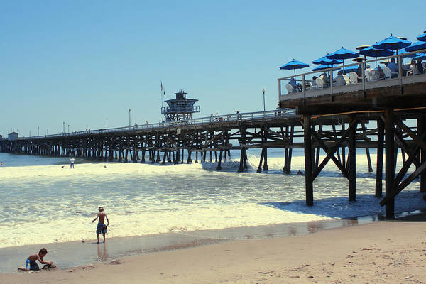 Beach Print featuring the photograph Beach View With Pier 1 by Ben and Raisa Gertsberg
