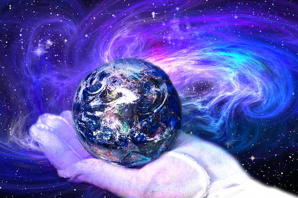 Earth Print featuring the digital art Birth Of A Planet by Lisa Yount