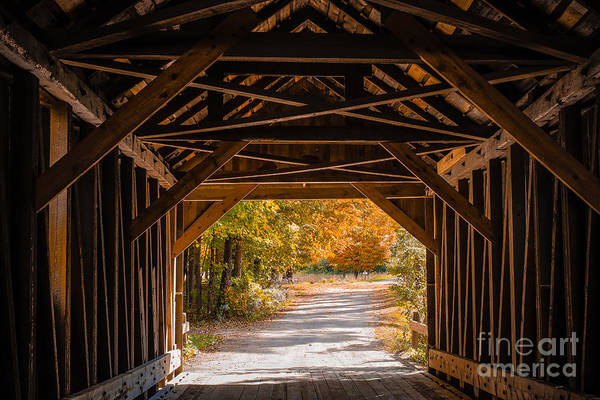 Fall Print featuring the photograph Blow-me-down Covered Bridge Cornish New Hampshire by Edward Fielding