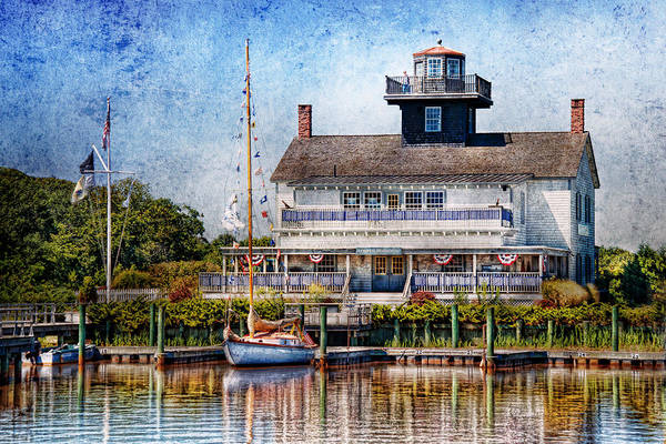 Hdr Print featuring the photograph Boat - Tuckerton Seaport - Tuckerton Lighthouse by Mike Savad