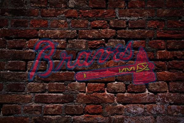 Baseball Print featuring the photograph Braves Baseball Graffiti On Brick by Movie Poster Prints