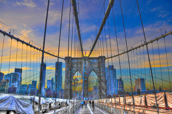 Brooklyn Bridge Print featuring the photograph Brooklyn Bridge At Dusk by Randy Aveille