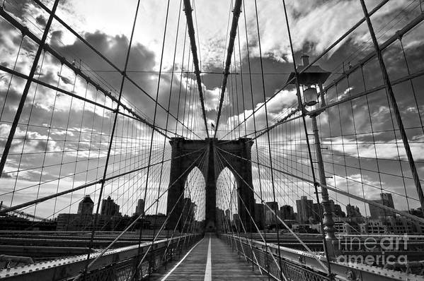 Brooklyn Bridge Print featuring the photograph Brooklyn Bridge by Delphimages Photo Creations