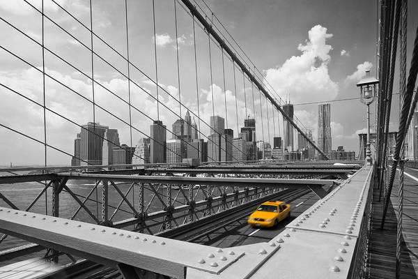 America Print featuring the photograph Brooklyn Bridge View Nyc by Melanie Viola