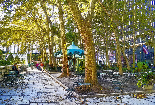 Bryant Park Print featuring the digital art Bryant Park October by Liz Leyden
