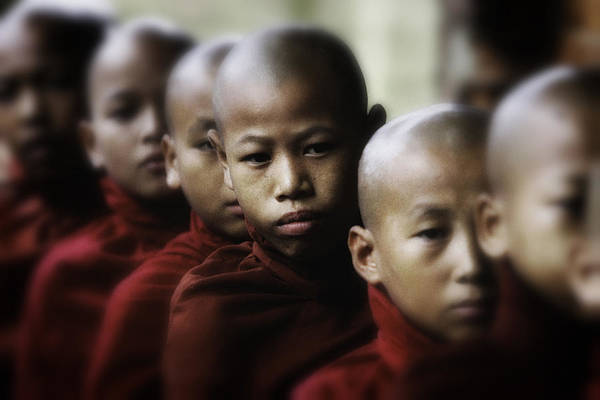 Southeast Asia Print featuring the photograph Burma Monks 2 by David Longstreath