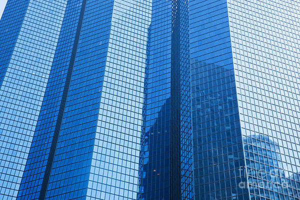 Skyscraper Print featuring the photograph Business Skyscrapers Modern Architecture In Blue Tint by Michal Bednarek