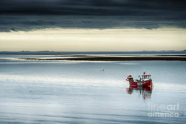 Red Fishing Boat Print featuring the photograph Calm Before The Storm by Tim Gainey