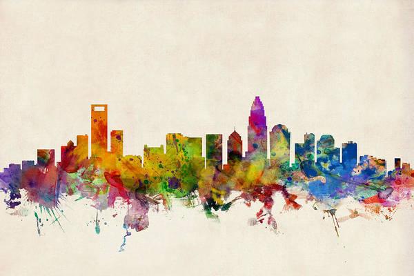 Watercolour Print featuring the digital art Charlotte North Carolina Skyline by Michael Tompsett