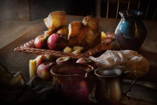 Chef Print featuring the photograph Chef - Food - A Tribute To Rembrandt - Apples And Rolls by Mike Savad