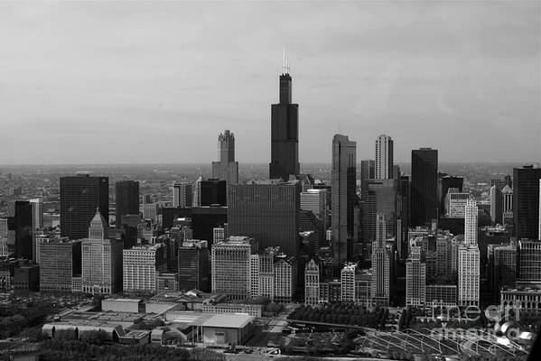 Black And White Print featuring the photograph Chicago Looking West 01 Black And White by Thomas Woolworth