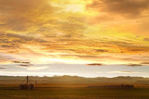 Silos Print featuring the photograph Chicken Farm Sunset 2 by James BO Insogna