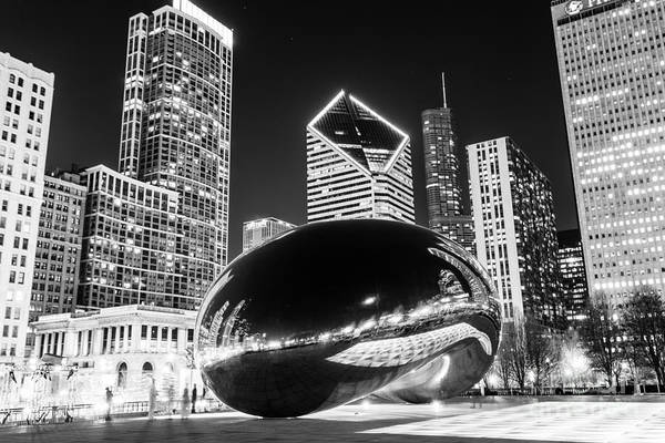 2012 Print featuring the photograph Cloud Gate Chicago Bean Black And White Picture by Paul Velgos