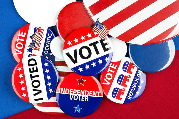 Political Print featuring the photograph Collection Of Vote Badges by Joe Belanger