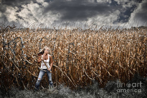 Axe Print featuring the photograph Corn Field Horror by Jt PhotoDesign
