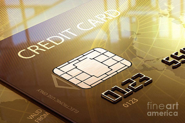 Credit Print featuring the photograph Credit Card Macro - 3d Graphic by Johan Swanepoel