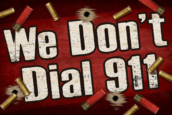 Sign Print featuring the painting Dial 911 by JQ Licensing