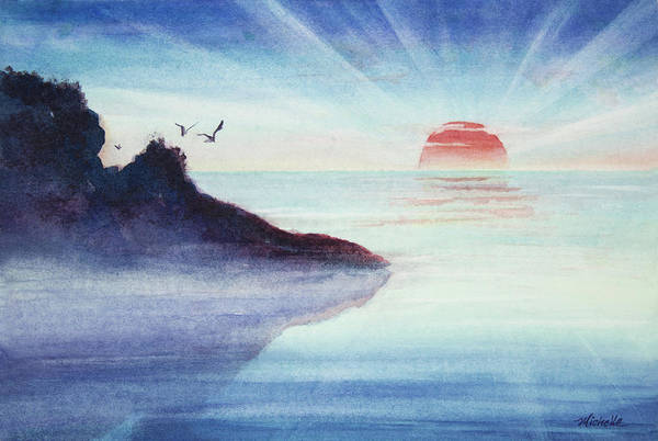 Rocks Print featuring the painting Distant Shoreline Sunrise Watercolor Painting by Michelle Wiarda