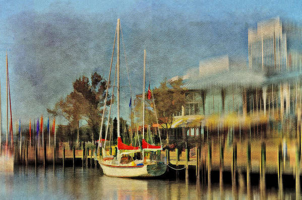 Sailboat Print featuring the photograph Docked by Kathy Jennings