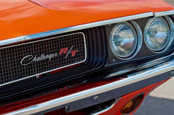 Dodge Challenger Rt Grille Emblem Print featuring the photograph Dodge Challenger Rt Grille Emblem by Jill Reger