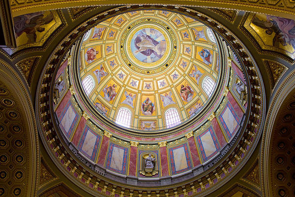Basilica Print featuring the photograph Dome Interior Of The St Stephen Basilica In Budapest by Artur Bogacki