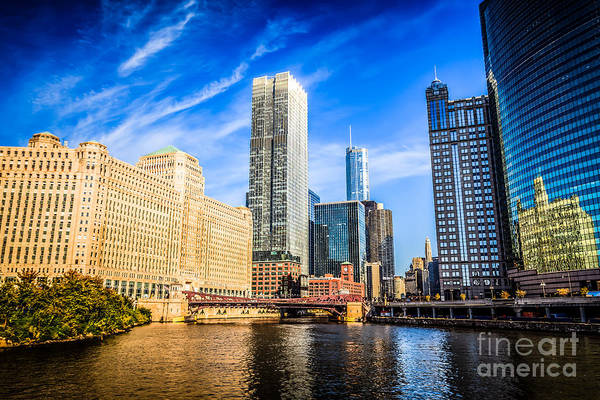 America Print featuring the photograph Downtown Chicago At Franklin Street Bridge Picture by Paul Velgos