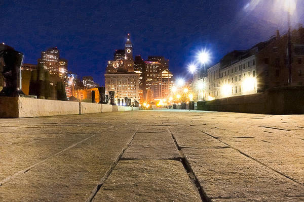 Boston Print featuring the photograph Dusk Falls On Boston's Long Wharf by Mark E Tisdale